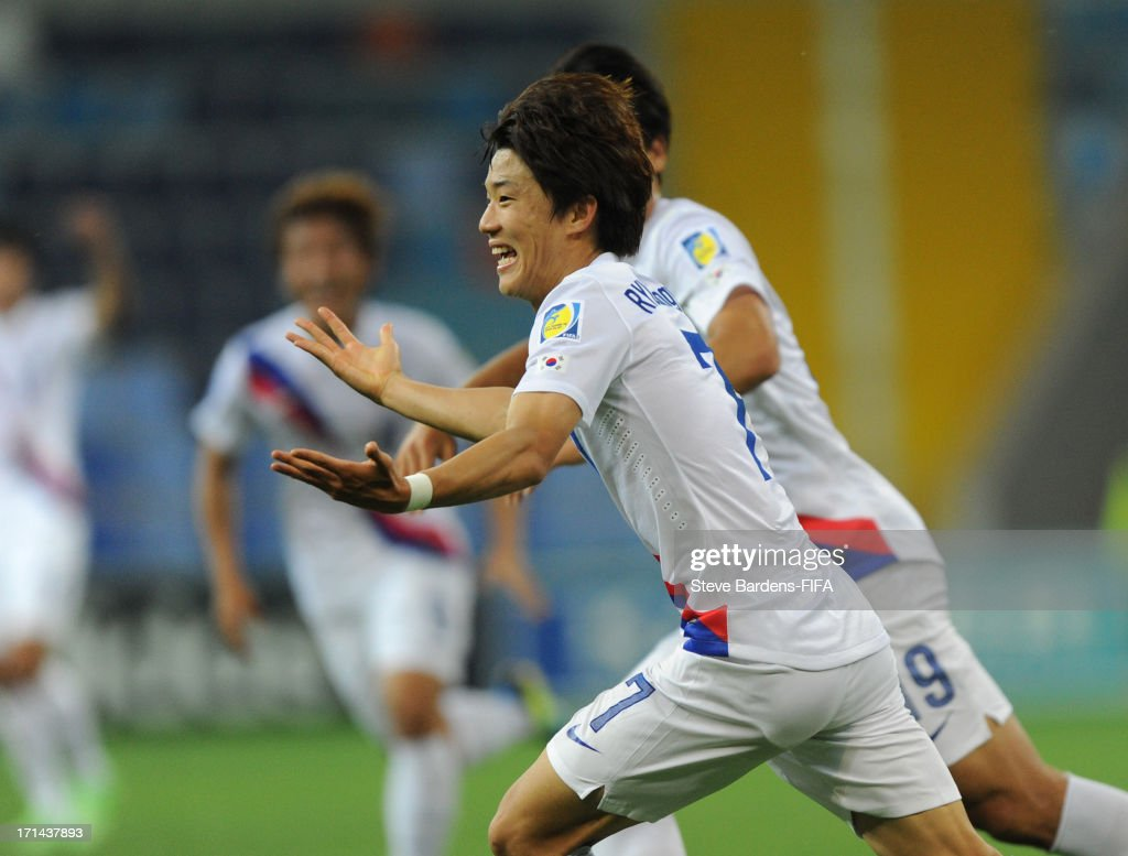 Seungwoo Ryu of Korea Republic celebrates scoring their first goal during the FIFA U20 World Cup Group B match between Portugal and Korea Republic at...