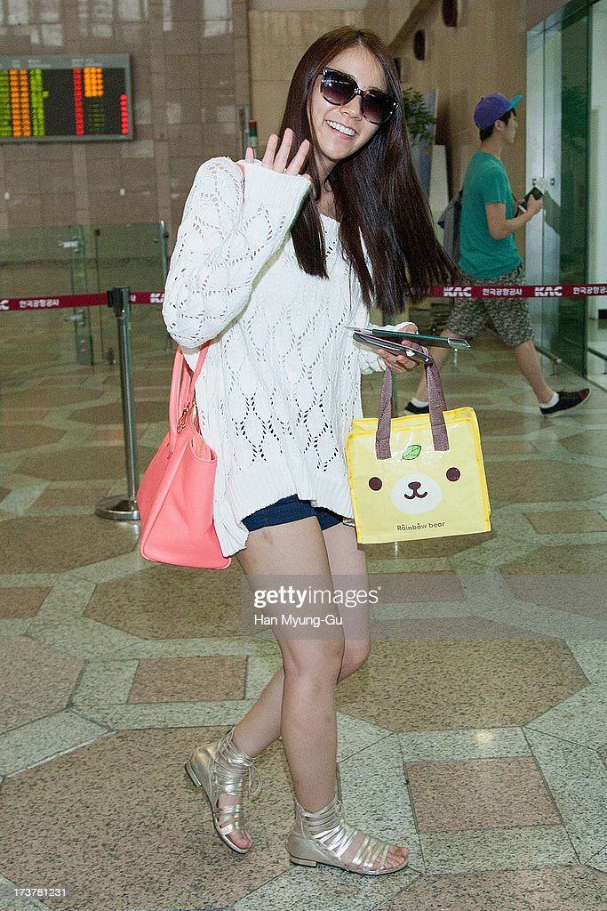 Seungyeon of South Korean girl group Kara is seen on departure at Gimpo International Airport on July 18, 2013 in Seoul, South Korea.