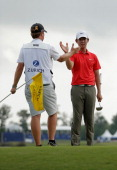SeungYul Noh celebrates after his win during the Final Round of the Zurich Classic of New Orleans at TPC Louisiana on April 27 2014 in Avondale...