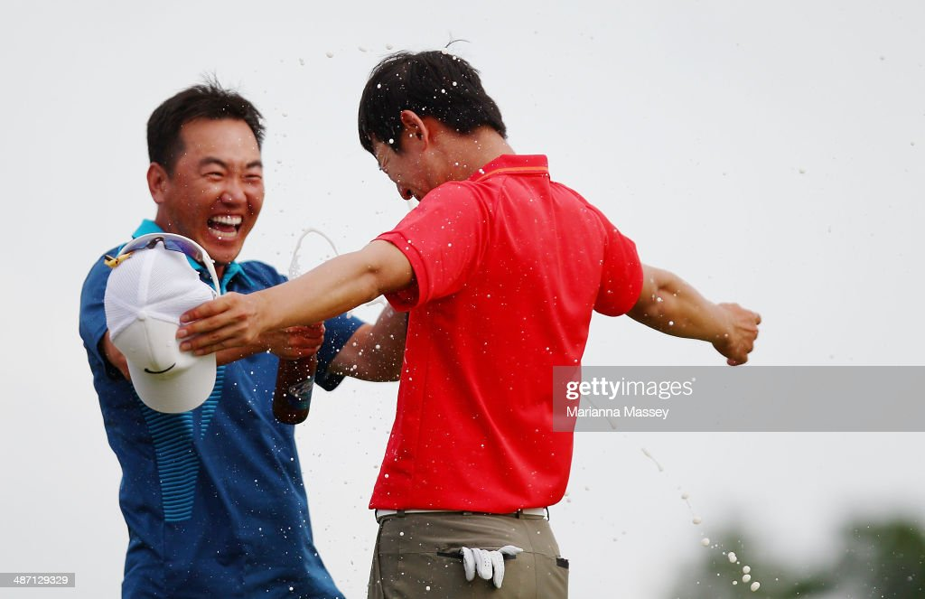 Seung-Yul Noh has beer poured on him by golfer <a gi-track='captionPersonalityLinkClicked' href=/galleries/search?phrase=Charlie+Wi&family=editorial&specificpeople=678470 ng-click='$event.stopPropagation()'>Charlie Wi</a> after winning the Zurich classic during the final round of the Zurich Classic of New Orleans at TPC Louisiana on April 27, 2014 in Avondale, Louisiana.