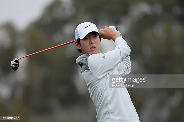 SeungYul Noh hits a tee shot on the 2nd hole during the second round of the Farmers Insurance Open on Torrey Pines South on January 24 2014 in La...
