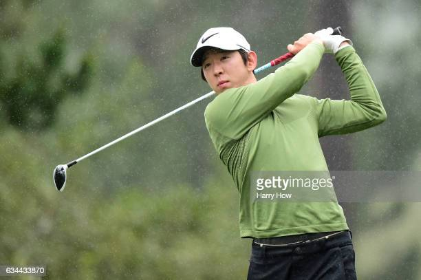 SeungYul Noh hits his tee shot on the 17th hole during Round One of the ATT Pebble Beach ProAm at Spyglass Hill Golf Course on February 9 2017 in...
