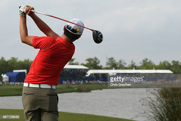SeungYul Noh hits his tee shot on the 18th hole during the Final Round of the Zurich Classic of New Orleans at TPC Louisiana on April 27 2014 in...