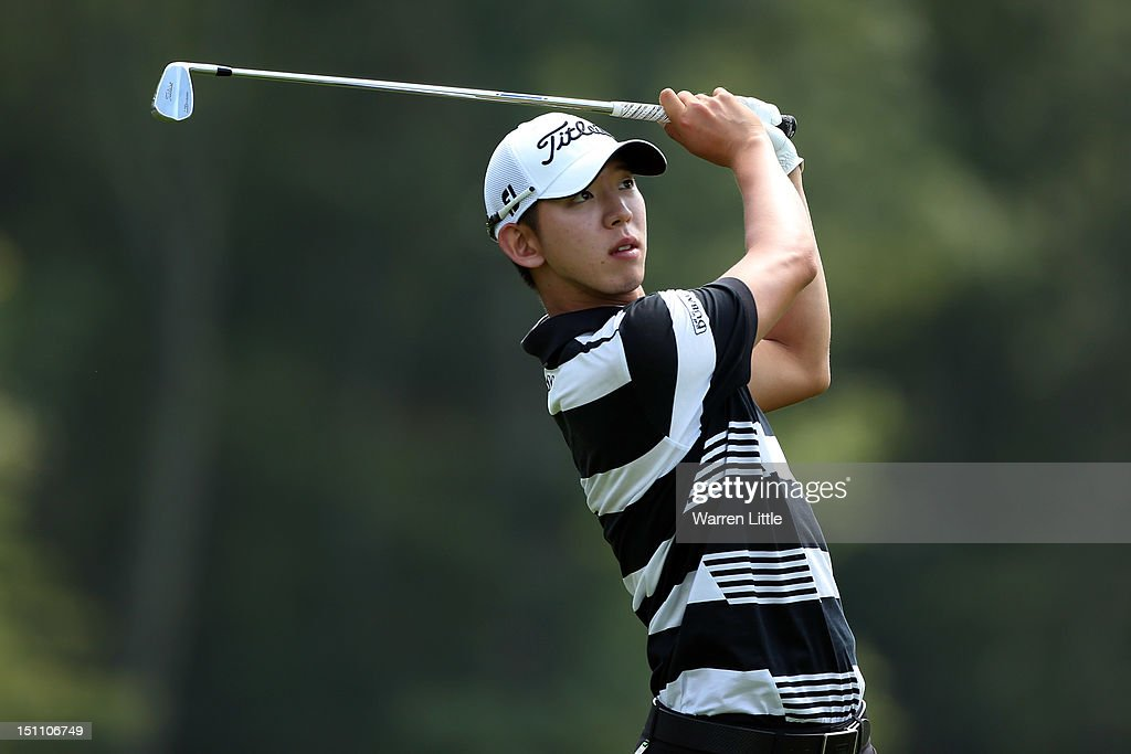 Seung-Yul Noh hits the ball on the ninth hole uring the second round of the Deutsche Bank Championship at TPC Boston on September 1, 2012 in Norton, Massachusetts.