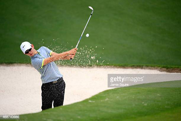 SeungYul Noh of Korea hits a bunker shot during a practice round prior to the start of the 2015 Masters Tournament at Augusta National Golf Club on...