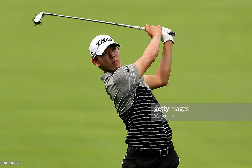 Seung-Yul Noh of Korea hits his second shot on the fifth hole during the second round of the BMW Championship at Crooked Stick Golf Club on September 7, 2012 in Carmel, Indiana.