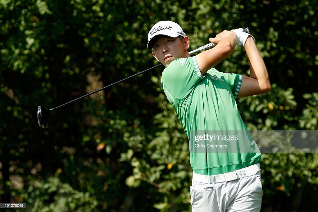 Seung-Yul Noh of Korea hits his tee shot on the 12th hole during the first round of the BMW Championship at Crooked Stick Golf Club on September 6, 2012 in Carmel, Indiana.
