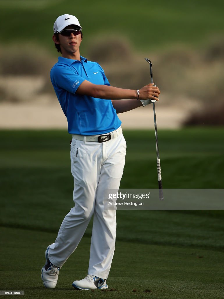 Seung-yul Noh of Korea in action during the first round of the Omega Dubai Desert Classic at Emirates Golf Club on January 31, 2013 in Dubai, United Arab Emirates.