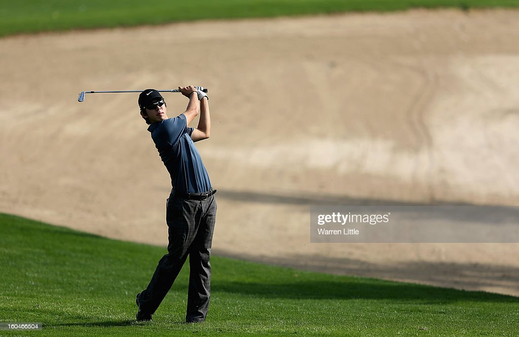 Seung-yul Noh of Korea in action during the second round of the Omega Dubai Desert Classic at Emirates Golf Club on February 1, 2013 in Dubai, United Arab Emirates.