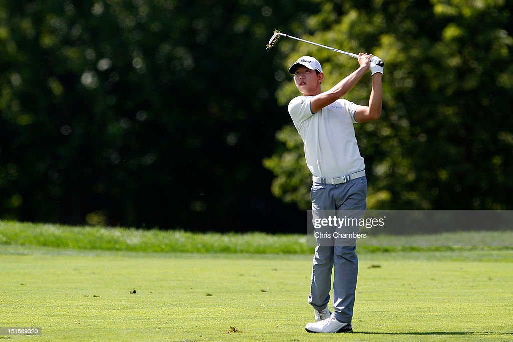 Seung-Yul Noh of Korea watches his second shot on the second hole during the third round of the BMW Championship at Crooked Stick Golf Club on September 8, 2012 in Carmel, Indiana.