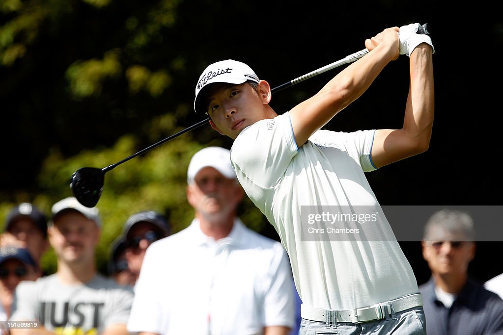Seung-Yul Noh of Korea watches his tee shot on the second hole during the third round of the BMW Championship at Crooked Stick Golf Club on September 8, 2012 in Carmel, Indiana.