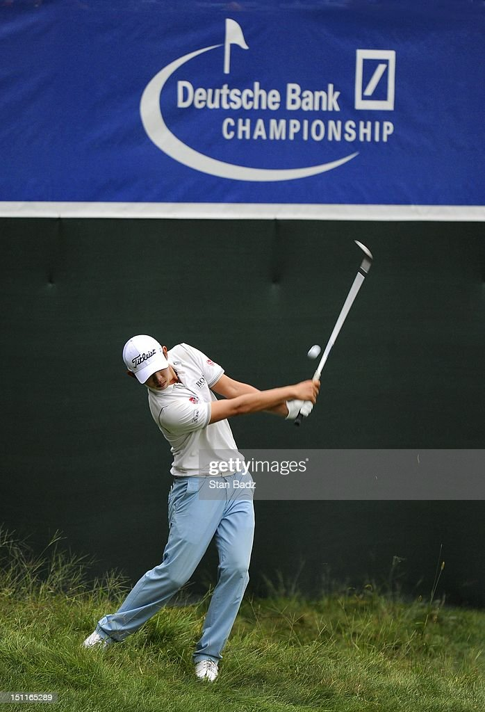Seung-Yul Noh of South Korea chips onto the 18th green during the third round of the Deutsche Bank Championship at TPC Boston on September 2, 2012 in Norton, Massachusetts.