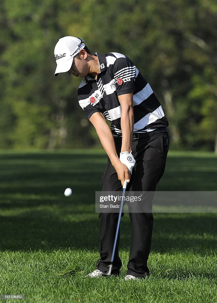 Seung-Yul Noh of South Korea chips to the 13th green during the second round of the Deutsche Bank Championship at TPC Boston on September 1, 2012 in Norton, Massachusetts.