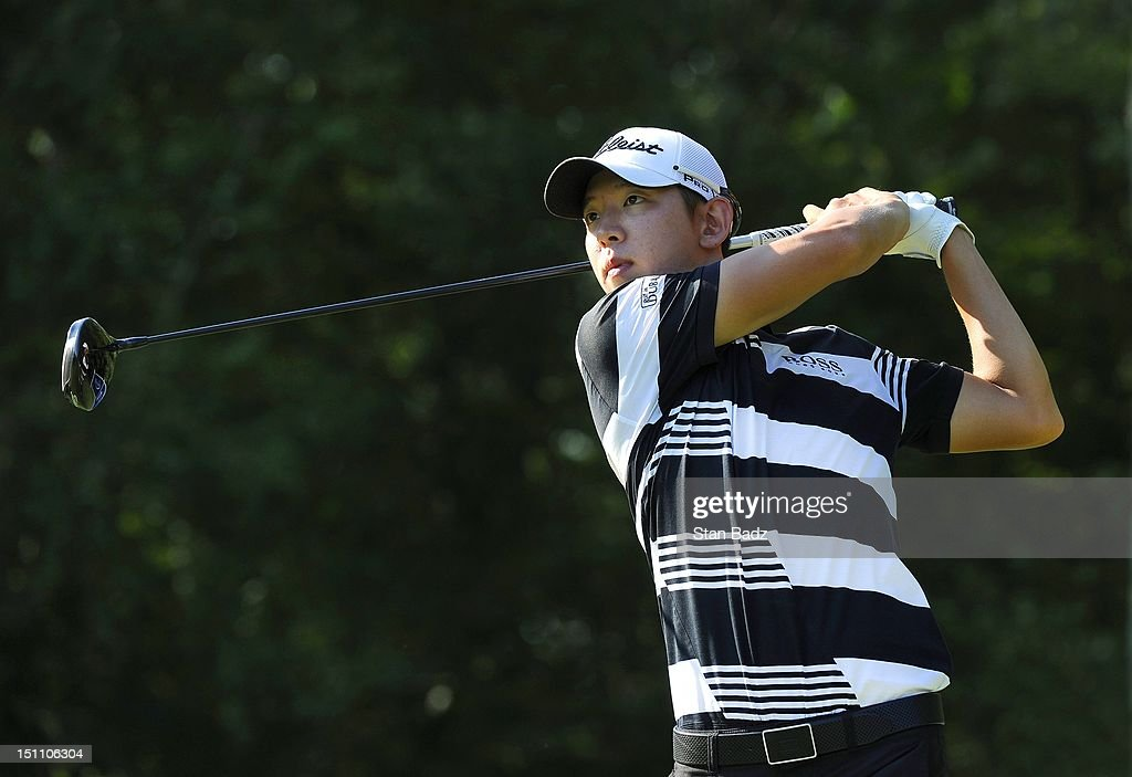 Seung-Yul Noh of South Korea hits a drive on the 15th hole during the second round of the Deutsche Bank Championship at TPC Boston on September 1, 2012 in Norton, Massachusetts.