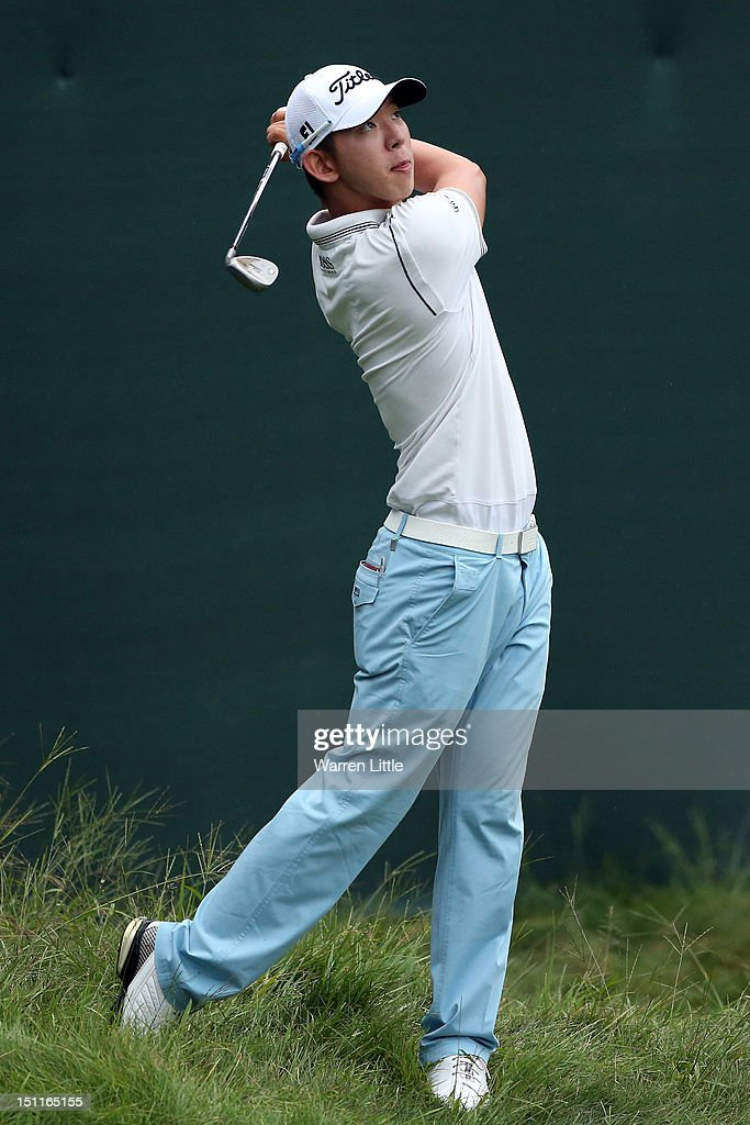 Seung-Yul Noh of South Korea hits a shot during the third round of the Deutsche Bank Championship at TPC Boston on September 2, 2012 in Norton, Massachusetts.