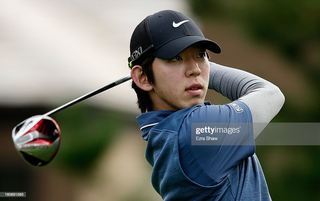 Seung-Yul Noh of South Korea hits his tee shot on the 18th hole during the first round of the AT&T Pebble Beach National Pro-Am at Spyglass Hill on February 7, 2013 in Pebble Beach, California.