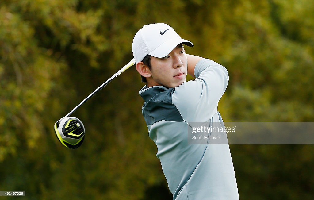 SeungYul Noh of South Korea hits his tee shot on the fifth hole during the first round of the Waste Management Phoenix Open at TPC Scottsdale on...