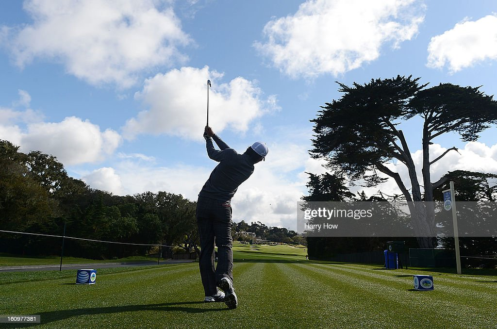 Seung-Yul Noh of South Korea hits his tee shot on the fourth hole during the second round of the AT&T Pebble Beach National Pro-Am at Pebble Beach Golf Links on February 8, 2013 in Pebble Beach, California.