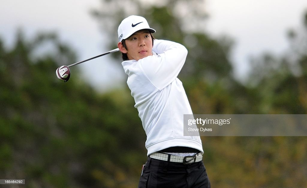 Seung-Yul Noh of South Korea hits his tee shot on the par four 11th hole during the first round of the Valero Texas Open at the AT&T Oaks Course at TPC San Antonio on April 04, 2013 in San Antonio, Texas.