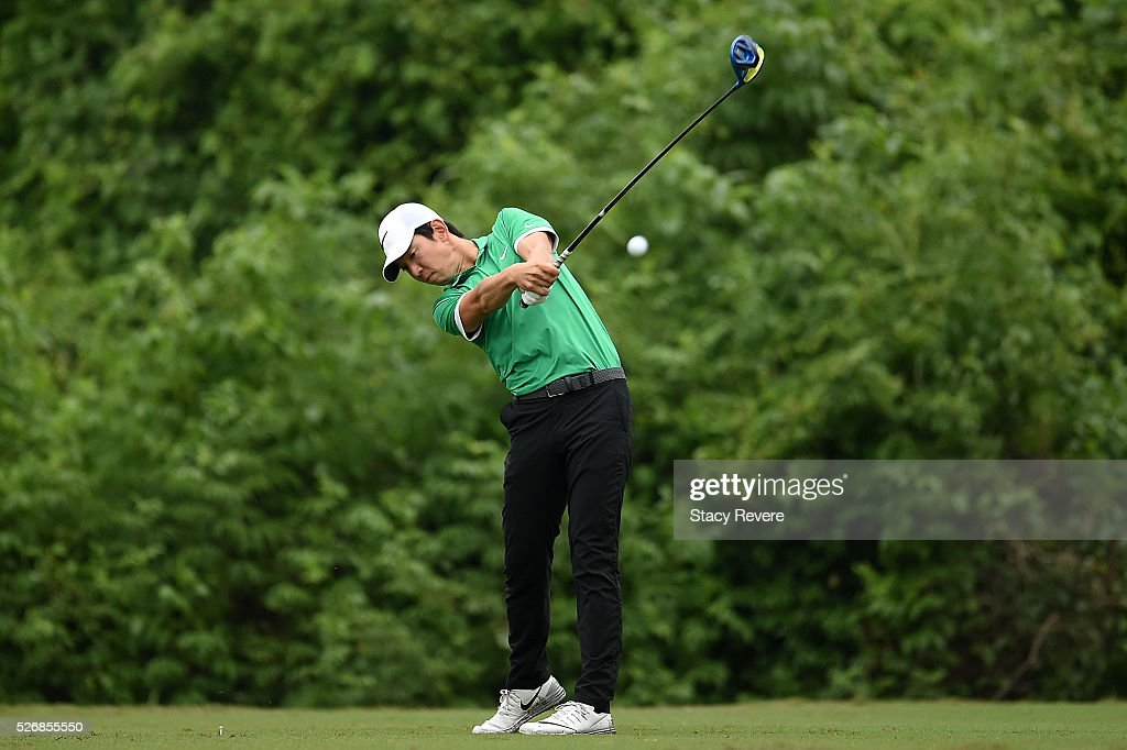 Seung-Yul Noh of South Korea hits his tee shot on the second hole during a continuation of the third round of the Zurich Classic at TPC Louisiana on May 1, 2016 in Avondale, Louisiana.