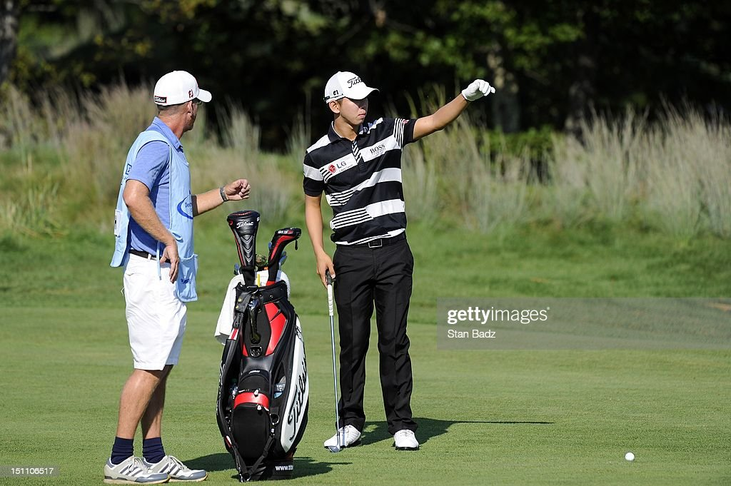 Seung-Yul Noh of South Korea plays the 15th hole during the second round of the Deutsche Bank Championship at TPC Boston on September 1, 2012 in Norton, Massachusetts.