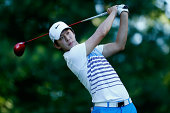 SeungYul Noh of South Korea tees off on the ninth hole during the second round of the Deutsche Bank Championship at the TPC Boston on August 30 2014...