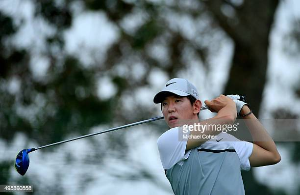 SeungYul Noh of South Korea tees off on the second hole during the first round of the Sanderson Farms Championship at The Country Club of Jackson on...