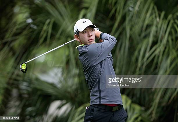 SeungYul Noh of South Korea watches his tee shot on the 11th hole during the first round of the RBC Heritage at Harbour Town Golf Links on April 16...