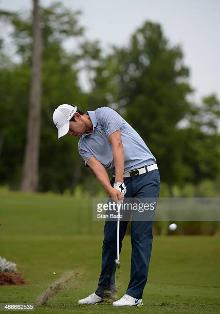 SeungYul Noh plays a shot on the 17th during Round Two of the Zurich Classic of New Orleans at TPC Louisiana on April 25 2014 in Avondale Louisiana