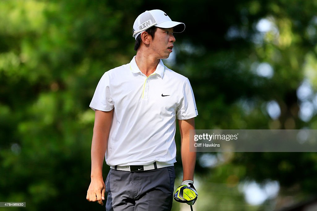 SeungYul Noh plays his shot from the fourth tee during the first round of the Travelers Championship at TPC River Highlands on June 25 2015 in...