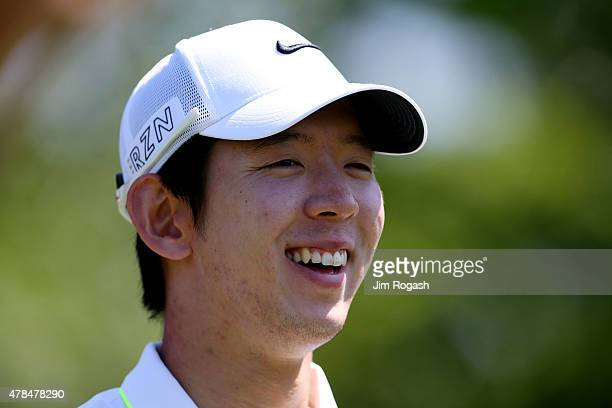 SeungYul Noh reacts during the first round of the Travelers Championship at TPC River Highlands on June 25 2015 in Cromwell Connecticut
