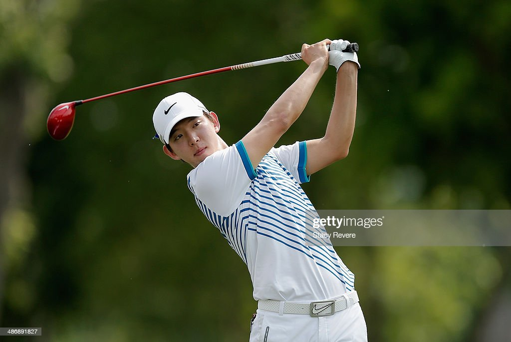 SeungYul Noh tees off on the 15th during Round Three of the Zurich Classic of New Orleans at TPC Louisiana on April 26 2014 in Avondale Louisiana
