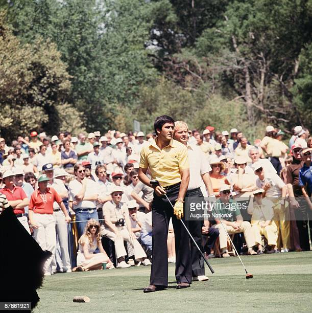 Seve Ballesteros and Jack Nicklaus watch the fairway from the tee box during the 1978 Masters Tournament at Augusta National Golf Club on April 1978...