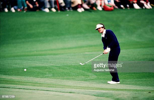 Seve Ballesteros chips to the green during the 1985 Masters Tournament at Augusta National Golf Club in April 1985 in Augusta Georgia