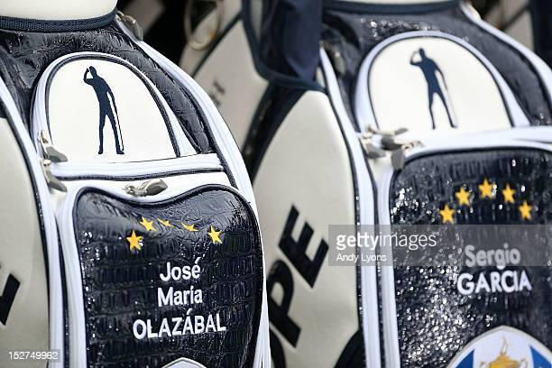 Seve Ballesteros logo is seen on European Team golf bags of Jose Maria Olazabal and Sergio Garcia during the second preview day of The 39th Ryder Cup...