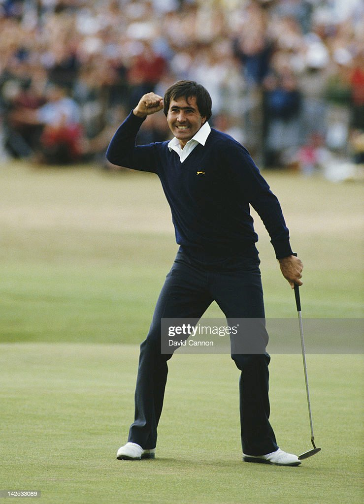<a gi-track='captionPersonalityLinkClicked' href=/galleries/search?phrase=Seve+Ballesteros&family=editorial&specificpeople=215301 ng-click='$event.stopPropagation()'>Seve Ballesteros</a> of Spain celebrates after he holes out on the final 18th green to win the 113th Open Championship on 22nd July 1984 on the Old Course at St Andrews, Scotland, United Kingdom.