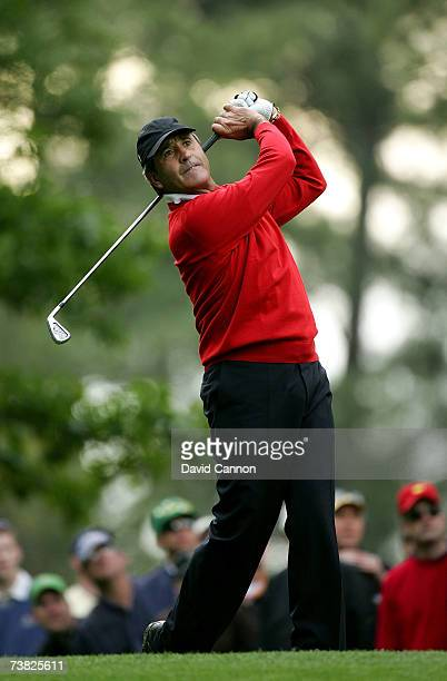 Seve Ballesteros of Spain hits his tee shot on the fourth hole during the second round of The Masters at the Augusta National Golf Club on April 6...