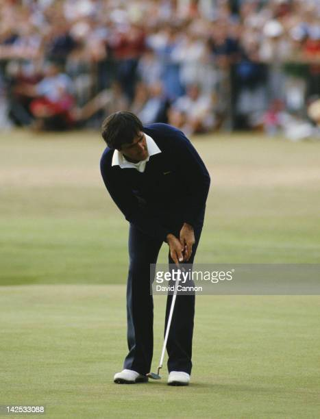 Seve Ballesteros of Spain holes out on the final 18th green to win the 113th Open Championship on 22nd July 1984 on the Old Course at St Andrews...