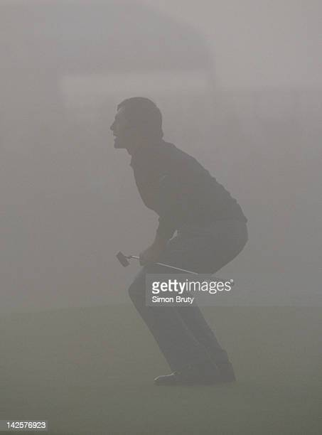 Seve Ballesteros of Spain in the mist during the Alfred Dunhill Cup on 8th October 1988 on the Old Course at St Andrews Scotland United Kingdom