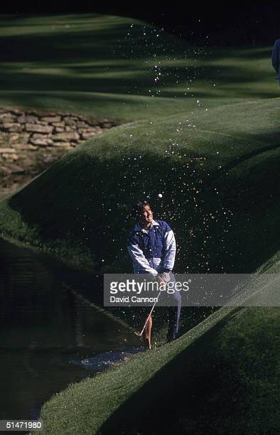 Seve Ballesteros of Spain plays his ball out of Rae's Creek on the 13th hole during the US Masters at Augusta National Golf Club April1989 in...