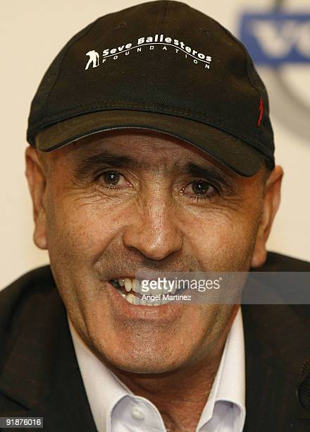 Seve Ballesteros of Spain talks to media during the press conference of the Volvo World Match Play Championship 2009 presentation at Intercontinental...