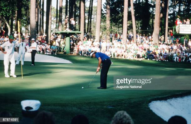 Seve Ballesteros putts during the 1986 Masters Tournament at Augusta National Golf Club in April 1986 in Augusta Georgia