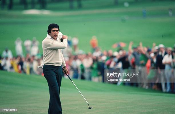 Seve Ballesteros reacts to a putt during the 1980 Masters Tournament at Augusta National Golf Club in April in Augusta Georgia