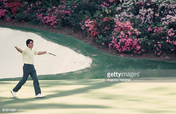 Seve Ballesteros reacts to his putt on the 13th green during the 1984 Masters Tournament at Augusta National Golf Club in April 1984 in Augusta...