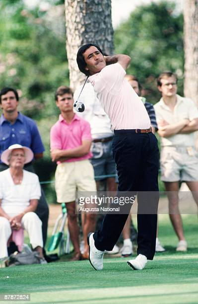 Seve Ballesteros stands in finish position during the 1988 Masters Tournament at Augusta National Golf Club in April 1988 in Augusta Georgia