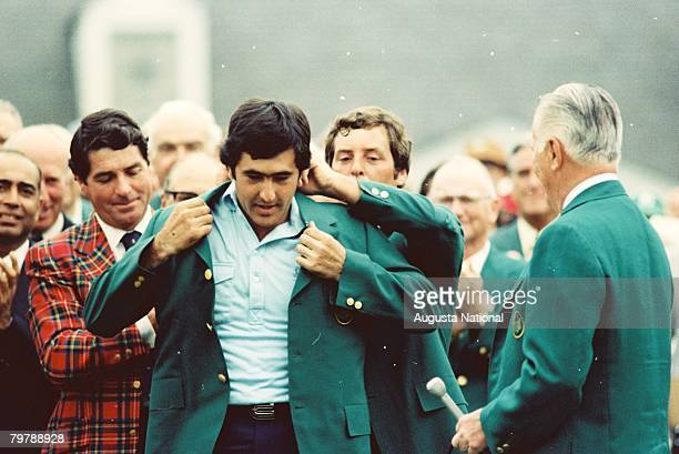 Seve Ballesteros Takes The Green Jacket From Fuzzy Zoeller At The 1980 Masters Tournament