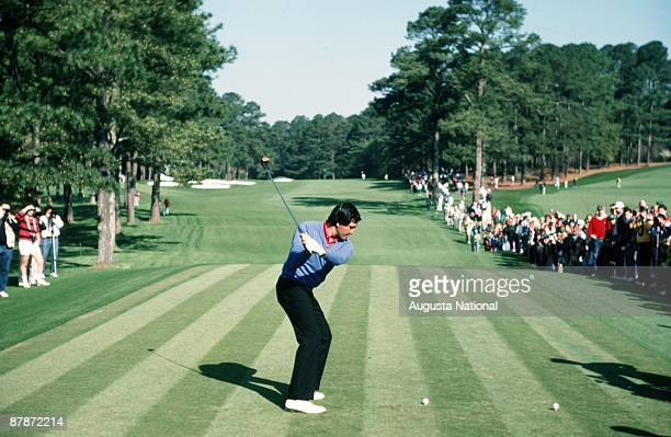 Seve Ballesteros tees off during the 1987 Masters Tournament at Augusta National Golf Club in April 1987 in Augusta Georgia