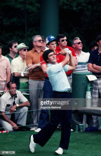 Seve Ballesteros watches his shot during the 1979 Masters Tournament at Augusta National Golf Club on April 1979 in Augusta Georgia