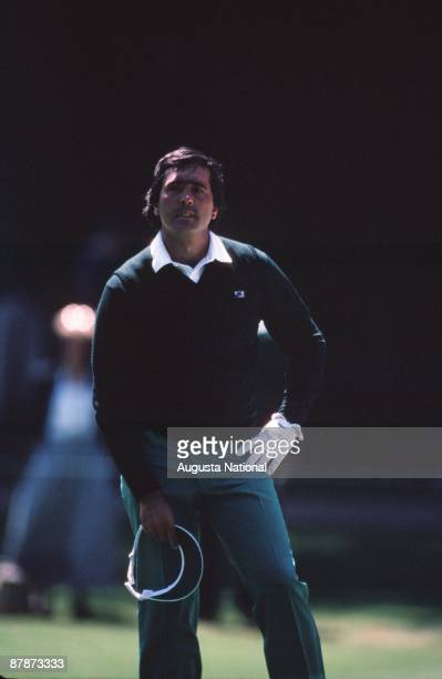 Seve Ballesteros watches his shot during the 1986 Masters Tournament at Augusta National Golf Club in April 1986 in Augusta Georgia
