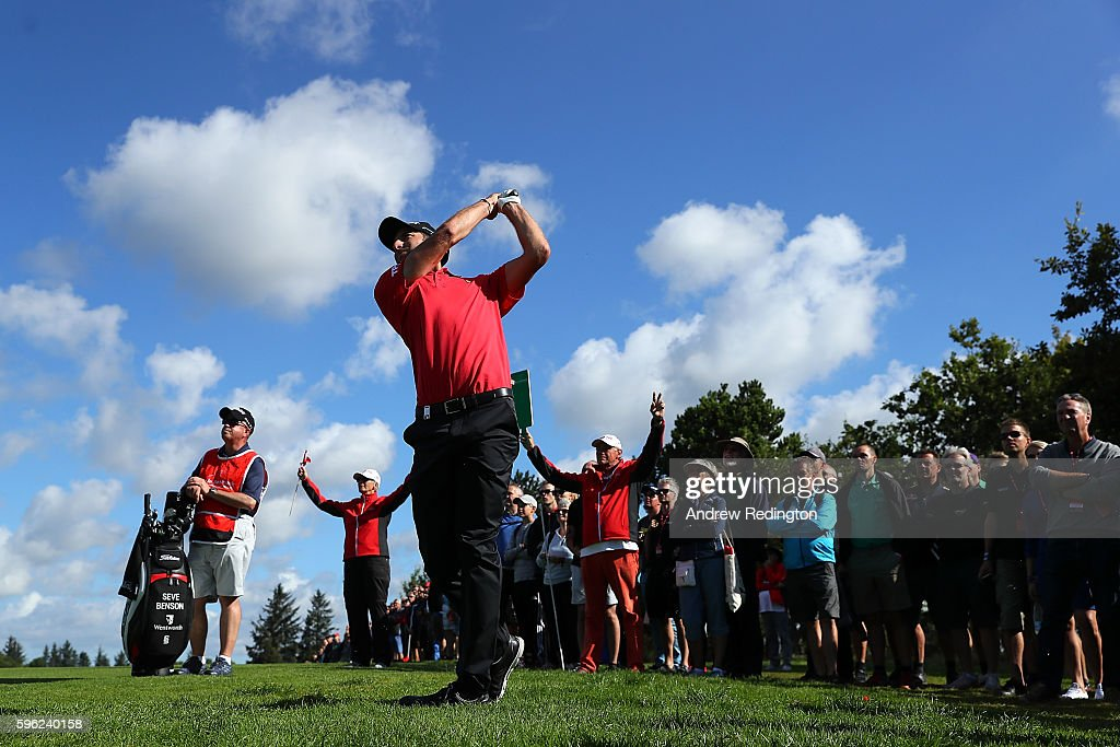 Seve Benson of England hits his second shot on the 1st hole during the third round of Made in Denmark at Himmerland Golf & Spa Resort on August 27, 2016 in Aalborg, Denmark.